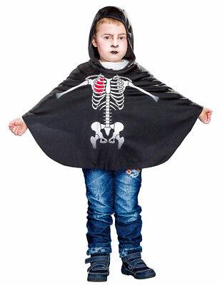 schwarzer Umhang mit Skelett und Kapuze Gr. 104/116 Halloween Kinder Cape Vamp