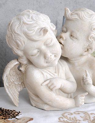 Himmlische Amoretten Engelfigur Weiss Landhausstil Skulptur Engelbüste