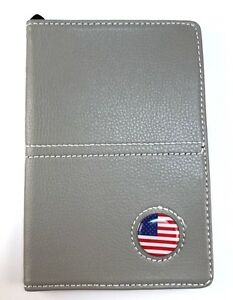 Gray Leather Book Golf Scorecard and Yardage Holder with Ball Marker and Pencil