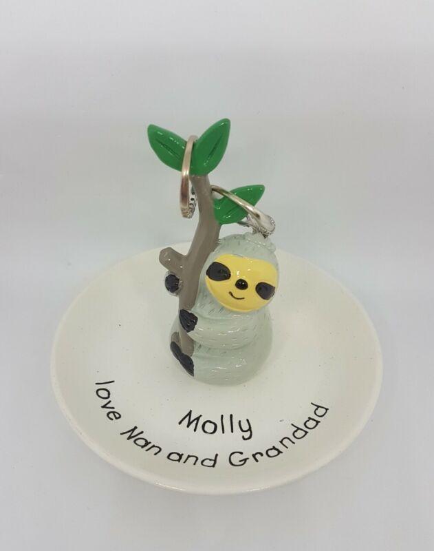 Personalised+Sloth+Ring+Holder+Present%2C+Jewellery+Dish+girls+Christmas+Gift