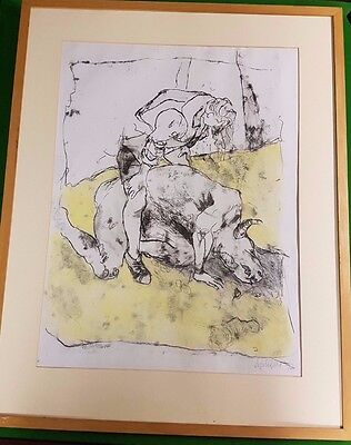 Angela Gill Untitled Man Standing Over Minotaur Ink Charcoal Pastel 1992 Signed