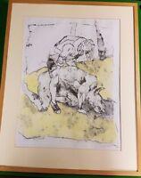 Angela Gill Untitled Man Standing Over Minotaur Ink Charcoal Pastel 1992 Signed -  - ebay.co.uk