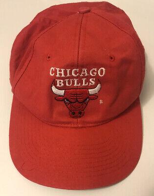Vintage Chicago Bulls Red Logo Drew Pearson Snapback Hat Mens 90s NBA