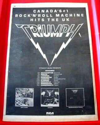 Triumph UK Tour Vintage ORIGINAL 1980 Press/Magazine ADVERT Poster-Size