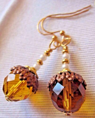 EARRINGS USA Artisan Made Hot Coco Time Amber Topaz Acorn Pearl Long Tall