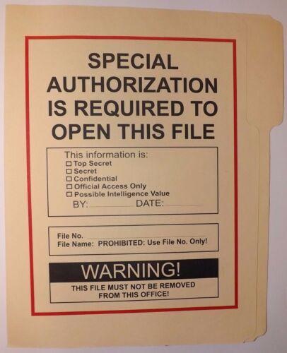 Special Authorization Folder NRO DOD FBI DIA NSA CIA MI6 NSC NCIC ONI DCI POLICE