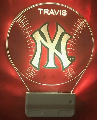 New York Yankees NY MLB Night Light Personalized LED Plug In Dusk to Dawn Sensor New York Yankees Led