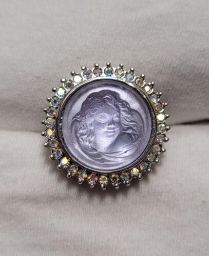 Kirks Folly Vintage Dream Angel Molded Lavender Glass Angel Crystal Ring Size 7