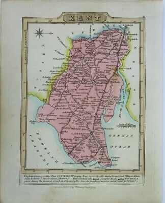 Antique map of Kent by William Lewis 1819