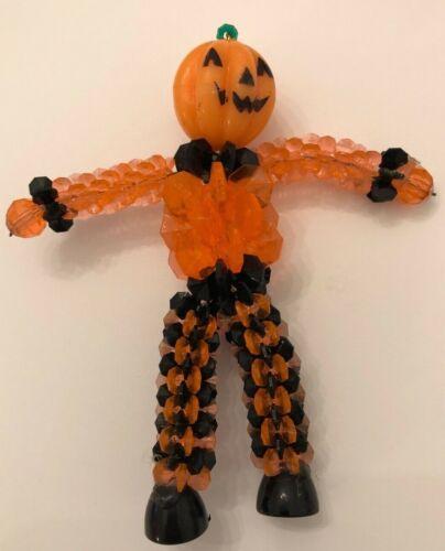 Vintage Halloween Scarecrow Pumpkin Jack-O-Lantern Beaded Mid-Century Folk Art