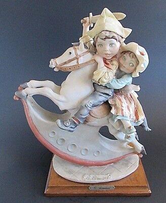 "Giuseppe Armani Florence Rocking Horse w/ Boy & Girl Sculpture 12"" - EUC!"