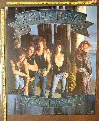 "BON JOVI Poster,24x29"",Very RARE Original,Record Company promo,New Jersey"