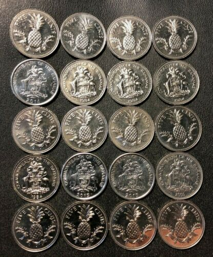 Old Bahamas Coin Lot - 20 High Quality Low Mintage Coins - FREE SHIPPING