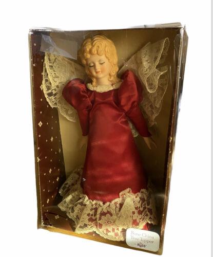 Vintage Angel Christmas Tree Topper Russ ~Satin Dress Burgundy~ White Lace