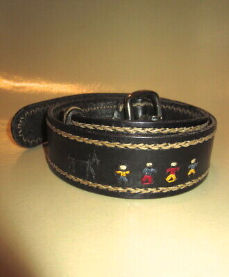 HENRY BEGUELIN for BARNEYS Black Leather Whip Stitched Family Belt