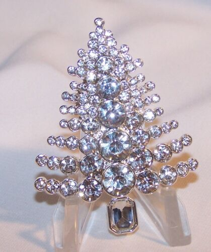 Dana Buchman Rhinestone Christmas Tree Brooch Pin-Clear Stones-New