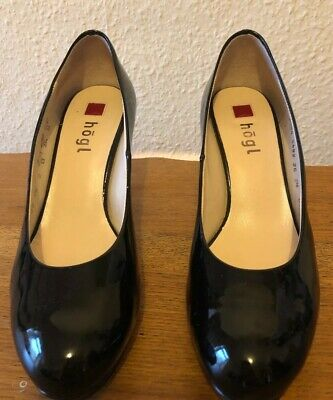 "Hogl Black Leather Patent Stilletoes Excellent Condition Size 3.5 - 4"" Heels"