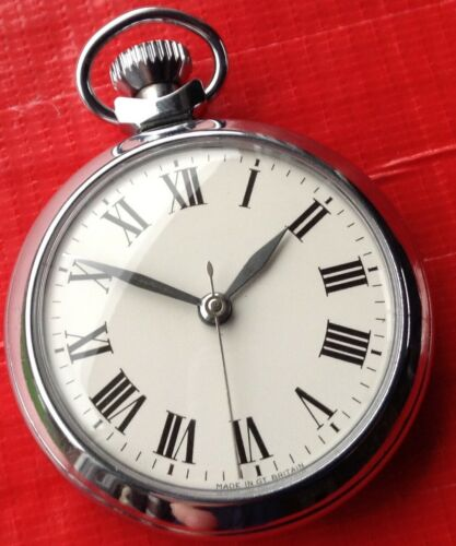 STUNNING SMITHS SILVER SWEEPER POCKET WATCH VERY UNUSUAL UNBRANDED DIAL FAB