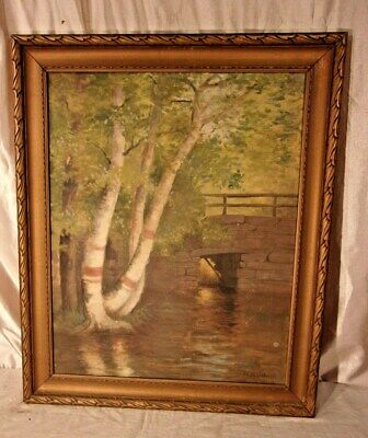 Deep Natural Solid Oak Frame 23 12 x 19 12 x 2 14 MOUNTAIN POOL CHESHIRE Textured Mid Century Print Published For Art Treasurers Inc
