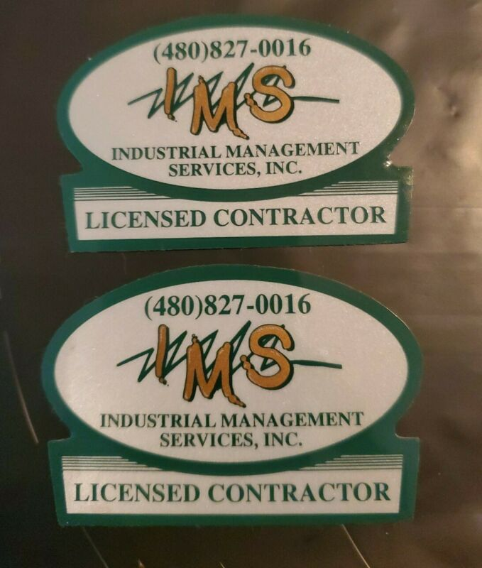 2 INDUSTRIAL MANAGEMENT SERVICES (IMS) LICENSED CONTRACTOR STICKERS