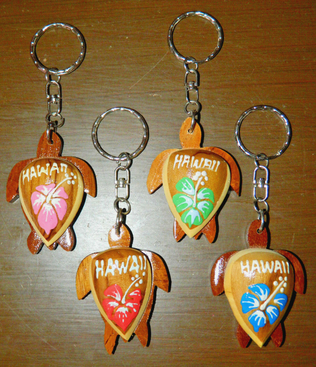 Hawaiian Natural Wood Honu Turtle Hibiscus Flower Keychain Hand Painted NEW