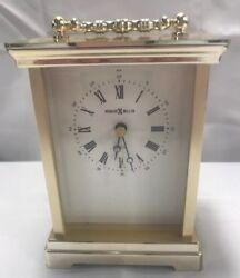 Vintage Howard Miller Brass Desk Clock Small Quartz Works