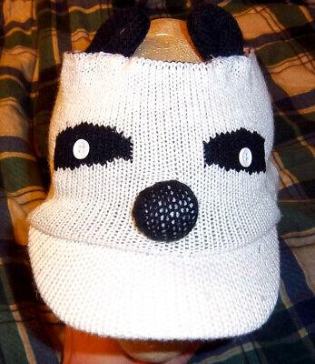Panda Bear knit hat, ear warmer muff, head - Panda Bear Hat