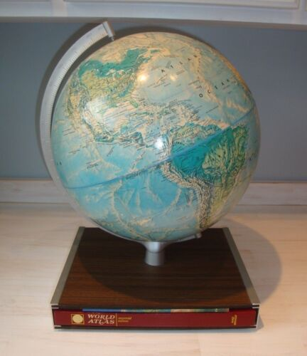 Vintage 1972 Rand McNally World Globe with Imperial Edition World Atlas
