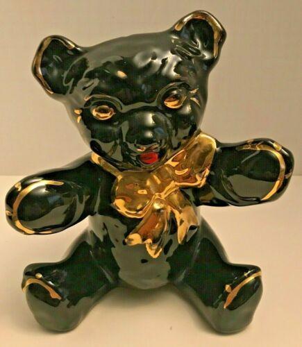 Vintage Large Black Teddy Bear Piggy Bank with Gold Bow Trim & Original Stopper