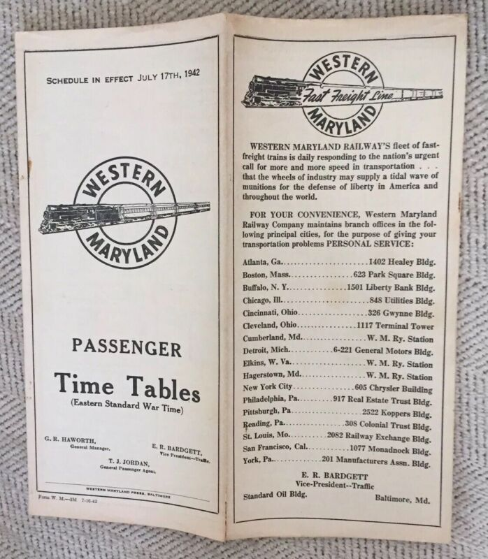Western Maryland Railway 7/17/42 War-Time Public Timetable