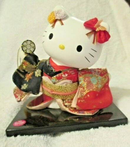 SANRIO Hello Kitty Figurine In Kimono with Hand Drum from Japan