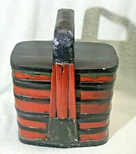 Vintage Chinese 3-Tier Elmwood With Bamboo Handled Picnic/Wedding Basket