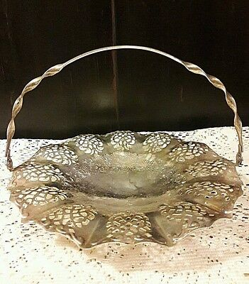 Silver Plate Interpur Pierced Cake Tray Lace Serving Basket Swing Handle