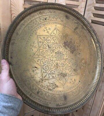 Plate Moroccan Antique Copper Morocco Algeria Object Ethnic Arab