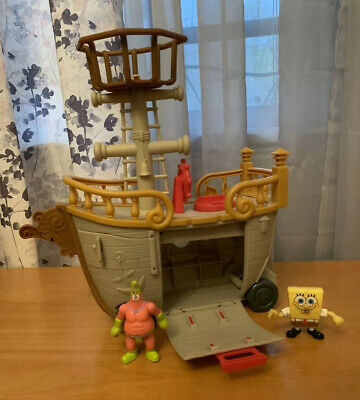 IMAGINEXT SPONGEBOB PATTY WAGON FOOD TRUCK PIRATE SHIP KRABBY PATTY FISHER PRICE