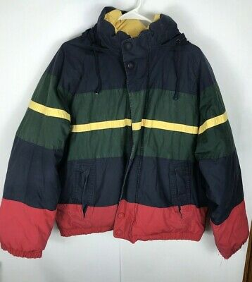 Vintage NAUTICA Reversible Duck Down Puffer Coat Jacket 90s Hooded Sz Medium