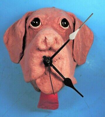 chocolate LABRADOR (LAB) RETRIEVER DOG papier mache CLOCK by F.B. FOGG
