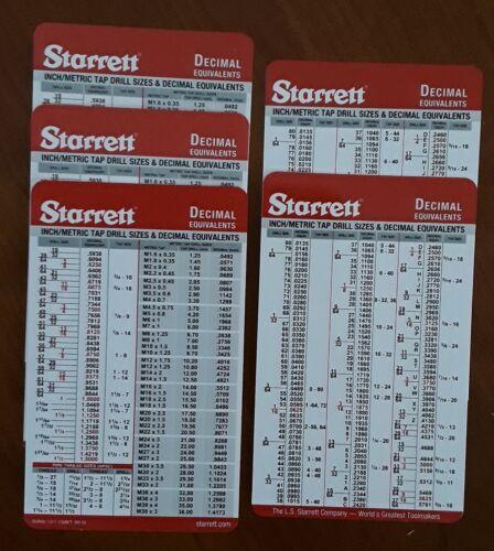 5 Starrett Tap & Drill Sizes (Inch/Decimal/Metric) Machinist Pocket Cards Charts