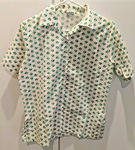 Girl Scout Adult Uniform Short Sleeved Blouse, Trefoil Pattern, 1981-1985, Sz 10