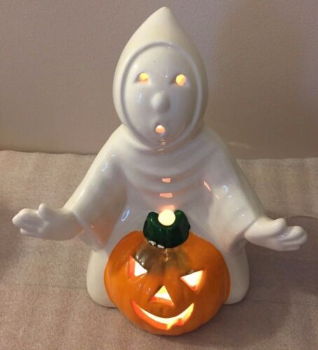 "Halloween GHOST w/PUMPKIN ceramic figurine...light 10.25""H"