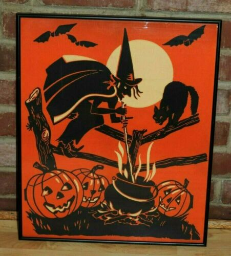 RARE ANTIQUE HALLOWEEN CREPE PAPER SCENE WITCH CAULDRON CAT BATS PUMPKIN FRAMED