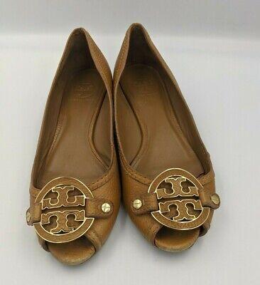Tory Burch Peep Toe Size 8 Wedge Heel Tumbled Leather Logo Tan shoes  A31