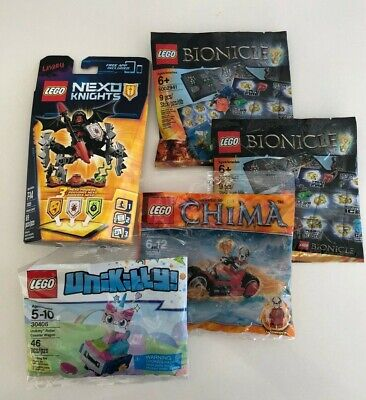 Lego Lot 5 Bionicle 5002941 x2, Unikitty 30406, Chima 30265, Nexo Knights 70335