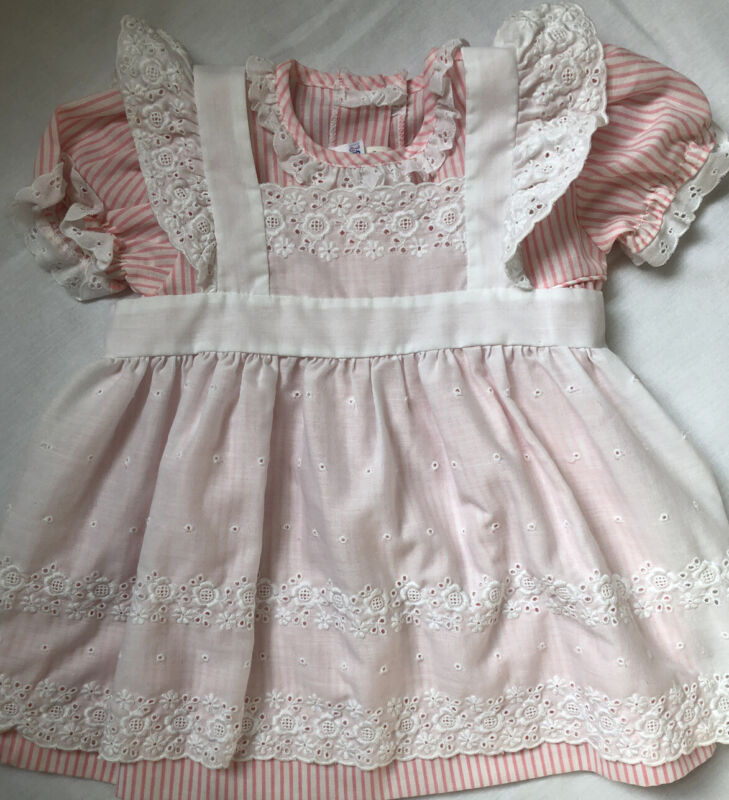 Vintage Pink Candy Stripe Ruffle Eyelet Pinafore Dress by Alexis 24 months
