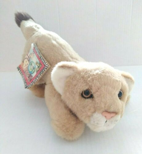 K&M International Plush Lion Cub Vintage 1994 Tan Hard Eyes Nose Stuffed Animal