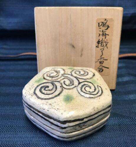 Antique Estate Item Japanese Pentagonal Incense Case ORIBE Pottery Edo Period