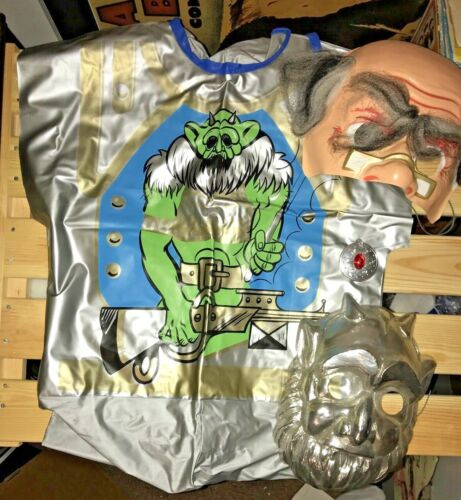 VINTAGE CHILD HALLOWEEN COSTUME SPACE GOBLIN MONSTER 2 MASKS GREAT COND SZ 12-14