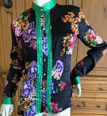 Dolce & Gabbana D&G Vintage Silk Floral Blouse with Large Crystal Buttons
