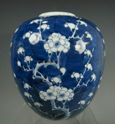 China Chinese Porcelain Blue & White Prunus Decor Jar Qing Dynasty ca 1900
