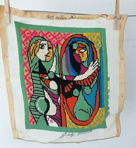 Completed Unframed Needlepoint Picasso Girl Before Mirror 19x11